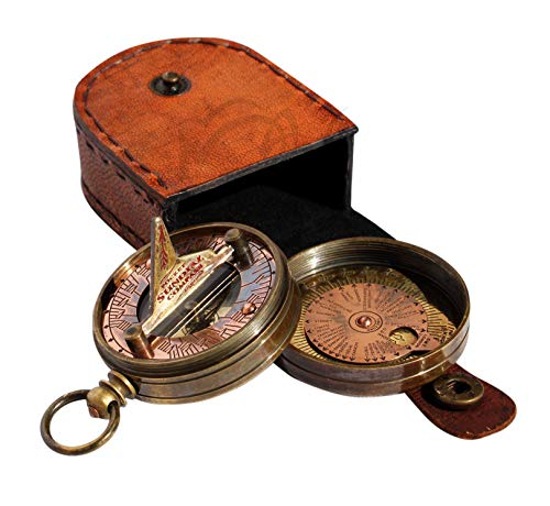 MAH Pocket Sundial Compass, Both Side Handwork on The Bird with Stamped Leather case. C-3170