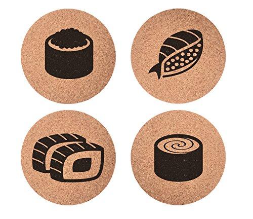Sushi Set 4pc Coaster Set Cork Home Bedroom Bar Decor Gifts