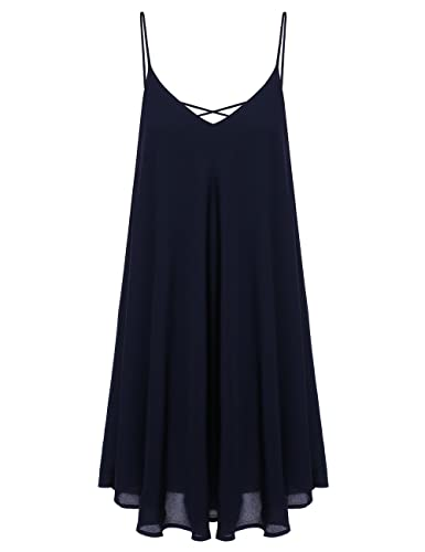 ROMWE Women's Summer Spaghetti Strap Sundress Sleeveless Beach Slip Dress