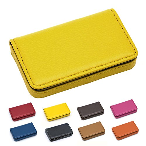 Padike Business Name Card Holder Luxury PU Leather,Business Name Card Holder Wallet Credit Card ID Case/Holder for Men & Women - Keep Your Business Cards Clean(Yellow)