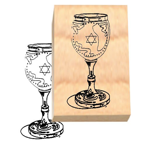 (Ruth's Jewish Stamps Wood Mounted Rubber Stamp - Kiddush Cup)