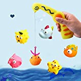 7 month old tub - SUPRBIRD Kids Pool Toys, Floating Bath Toy / Bath Tub Toy Organizer / Bathtub Fun Toys with Cute Spotted Fish and Fishing Rod, for Kids Toddler Baby Boys Girls (7 Pack)