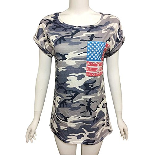 Women's Tops,Neartime Short Sleeve Camouflage T-Shirt With Fake Pocket (XL, Camouflage) Photo #5