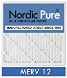 12x12x1 MERV 12 Pleated Nordic Pure Replacement AC Furnace Air Filter Box of 24