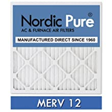 Nordic Pure 20x24x1M12-6 MERV 12 Pleated Air Condition Furnace Filter, Box of 6