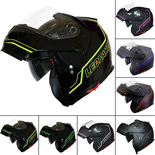 Leopard LEO-838 Safari Double Visor Modular Flip up front Motorcycle Motorbike Helmet Road Legal - Matt Black/Blue M (57-58cm) Touch Global Ltd