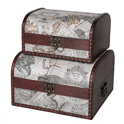 SLPR First Class Wooden Boxes (Set of 2, Old Map) | Vintage Themed Antique Victorian Style Treasure Storage Box for Keepsake Memories Toys Jewelry Decorative Storage Trunk by SLPR