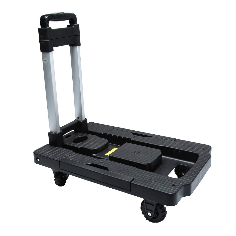 Kampeaburr Folding Hand Truck The Third Generation of New Upgraded 5 Wheel Folding Trolley TPR Wheel 360° Rotating Dolly Maximum Load Bearing 330 LB Folding Hand Dolly can Shopping Business Travel