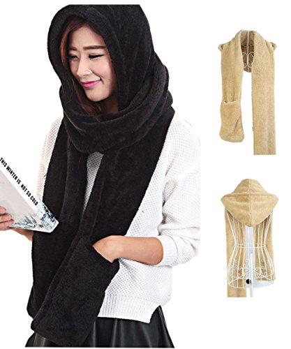 Maleroads 3 in 1 Women and Men Hooded Scarf With Mittens Neckwarmer Hoodie Pocket Hat (thicker, black2) - Classic Hooded Hat
