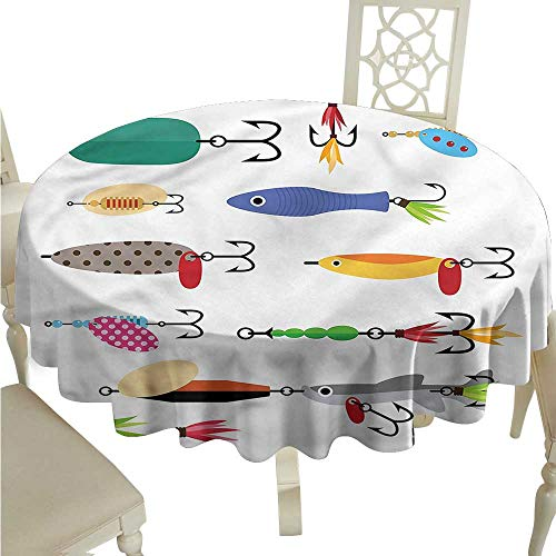 ScottDecor Outdoor Picnics Fishing,Stinger Net and Worms Tassel Tablecloth Round Tablecloth D 36
