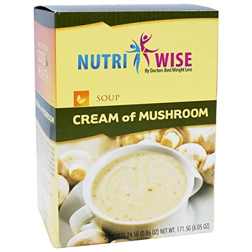 NutriWise - Cream of Mushroom Soup | Healthy Nutritious Diet Soup | High Protein, Low Calorie, Low Fat, Low Carb, Gluten Free, Sugar Free (7/Box)