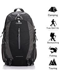 Camel 50L Hiking Backpack Waterproof with Rain Cover Outdoor Camping Travel Daypack