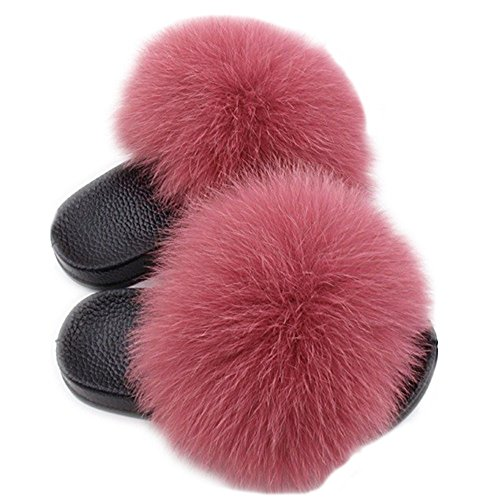 QMFUR Real Fox Fur Slippers Slides Kids to Adults Slip On Sandals Parent-Child Shoes (Kids3, Dark Pink)