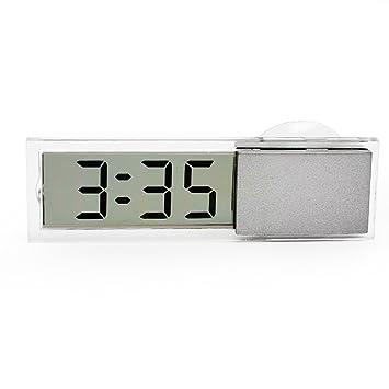 WINOMO Reloj digital electrónico de coche con pantalla LCD transparente Ventosa de succión: Amazon.es: Coche y moto