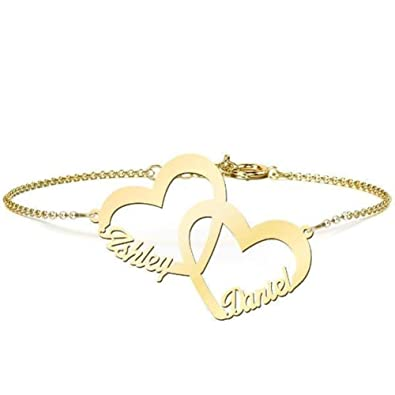 f3753b2b1f4a9 Amazon.com: Personalized Heart Nameplate Bracelet 925 Sterling ...
