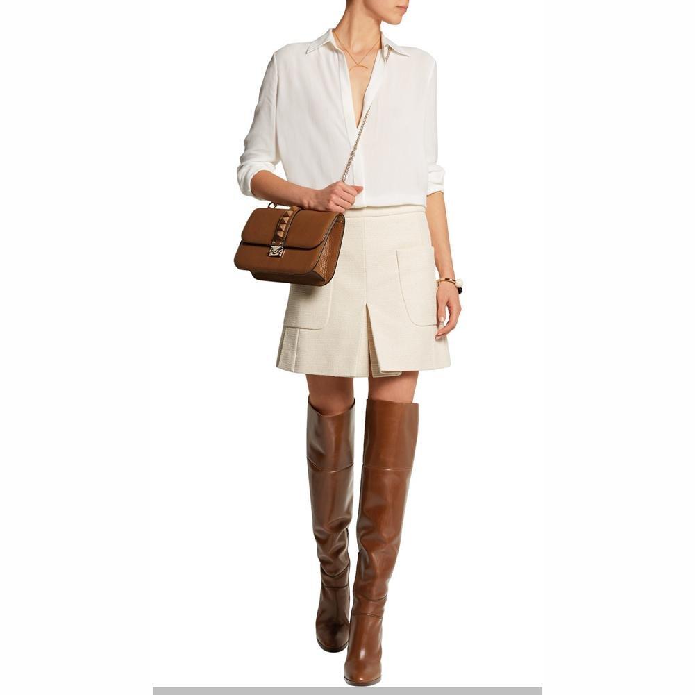 Elobaby Damen Stiefel Spitz PU Heels Mode Overknee Knöchel High Heels PU Damen (34-46 Größe) Brown 9bb08b