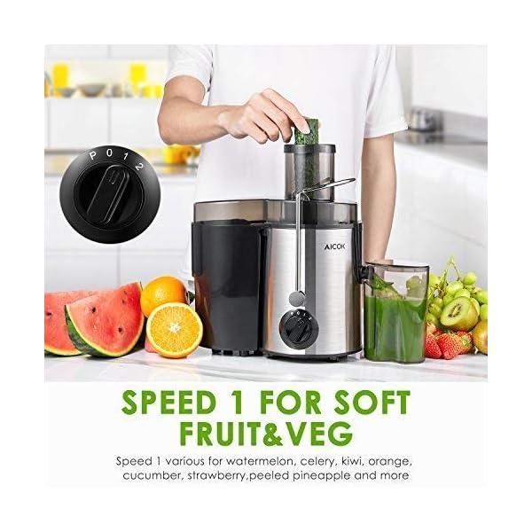 Aicok Centrifuga, Estrattore di Succo a Freddo, Estrattore Frutta e Verdura, 2 Contenitori e Spazzola per Succo più Nutriente, Funzione Anti-Intasamenti, Acciaio Inox - 2021 -