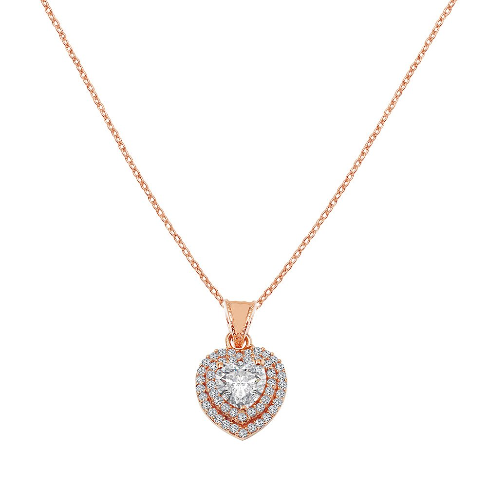 Colortone 14k Rose Gold Overlay Heart Shape Cubic Zirconia Halo Pendant Necklace 1.90 CT.TW