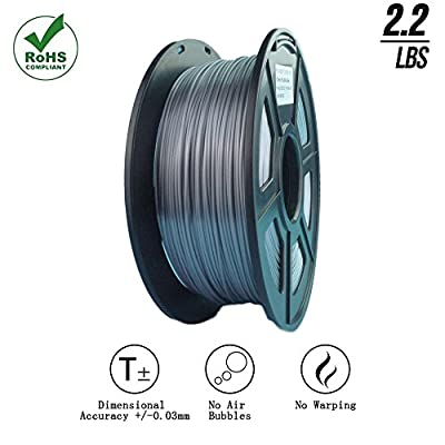 SunTop 3d printing filament pla 1.75mm Silk Silver, Rohs Compliance, 1 kg (2.2lbs) Spool, Dimensional Accuracy +/- 0.03 mm