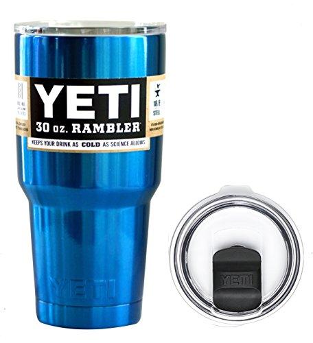 YETI Coolers 30 Ounce (30oz) (30 oz) Custom Rambler Tumbler Cup Mug Bundle with New Magslider Lid (Chrome Blue (No Glitter))