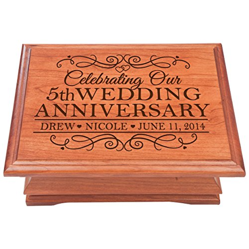 5th Wedding Anniversary Wooden Jewelry Box, Personalized 5 year Parent Wedding Keepsake chest, Gift ideas for couple by LifeSong Milestones