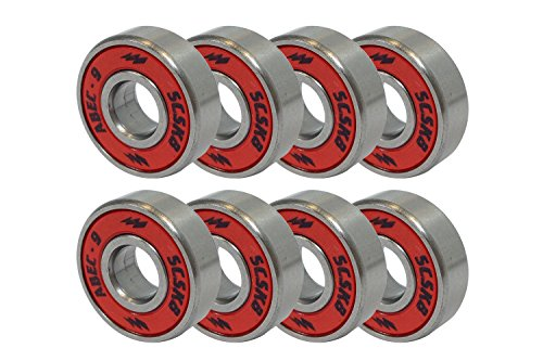 Skateboard Bearing Lube - SCSK8 ABEC 9 Bearings Skateboard Longboard Spinner Red Silver 1 set of (8)