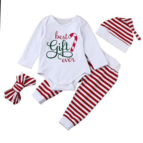 Baby Girl 4PCS Outfits Set, YJM 2018 Nowborn Xmas Infant Baby Boy Girl Stripe Romper Tops+Pants Christmas Outfits Set (0-6M, (Big Stripes Address Label)