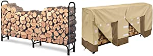 Landmann 82433 8-Foot Firewood Log Rack w/ Classic Accessories Veranda Cover