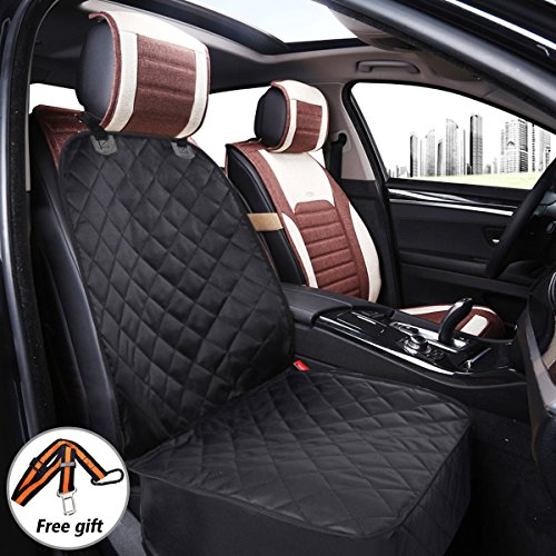FOCUSPET Dog Front Seat Cover, Waterproof Scratchproof Pet Seat Cover with Seat Belt, Nonslip Durable & Machine Washable Seat Cover Pad for SUVs Car Vans Trucks Black For Sale
