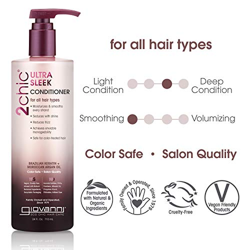 GIOVANNI 2chic Ultra-Sleek Conditioner, 24 oz. Brazilian Phyto-Keratin & Moroccan Argan Oil, Anti-Frizz Formula, Enriched with Coconut, Shea Butter, Pro-Vitamin B5, No Parabens, Color Safe (Pack of 1)