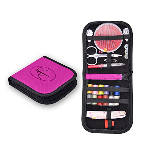 Stitch & Mend Mini Sewing Kit for Travel – 10 Essential Tools – Pink