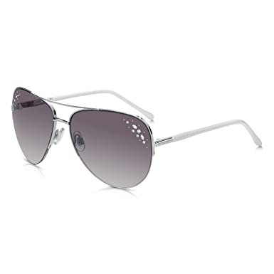 6b3e845cdf2 Sunglass Junkie Elegant Women s Aviator Sunglasses. Silver Metal Half Frame  with Shapely Shiny White Arms in Tough Polycarbonate. 100% UV Protection UV  400 ...