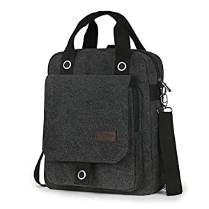 Unisex Multi-Use Methods Canvas Cross-body Bag Big Messenger Bag Casual Backpack (Black)