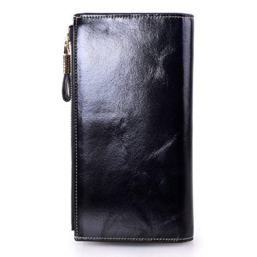VentoMarea Women's RFID Blocking Large Capacity Luxury Waxed Genuine Leather Clutch Wallet Multi Card Organizer Ladies Purse by VentoMarea (Image #3)