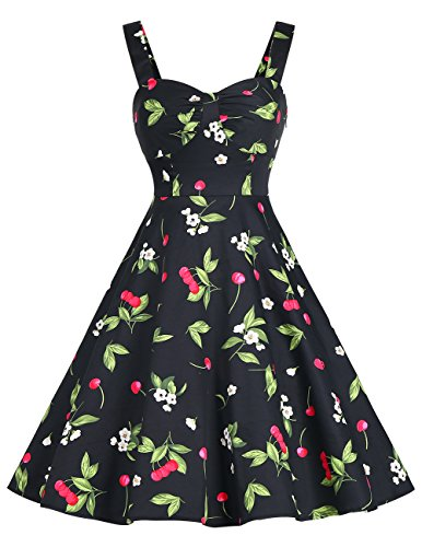 DRESSTELLS 1950s Retro Audrey Swing Pinup Rockabilly Dress Pleated Vintage Dress Black Small Cherry M