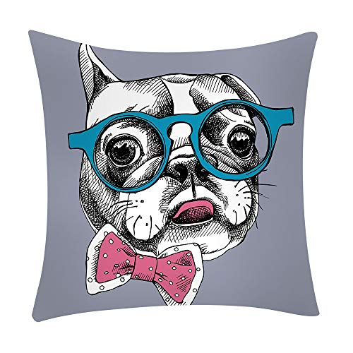 "Feccile 1PC Cute Decoration Throw Pillow Case Cushion Cover Comfortable Pillow Cover Soft Decorative Pillowcase for Bed/Chair/Couch, 18""x18""(45cm),6 Designs,Pet Dogs (D)"