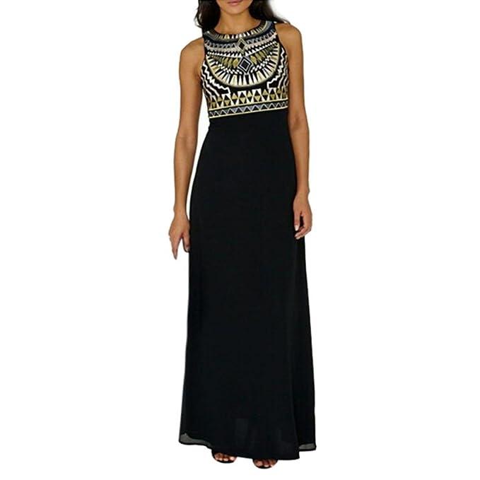 2d6ab3fcc672 Sommerkleider, Longra Damen Mode Chiffonkleider Lang Kleid Maxikleid Boho-Print  Kleid Ärmellos Strandkleid Rundhals