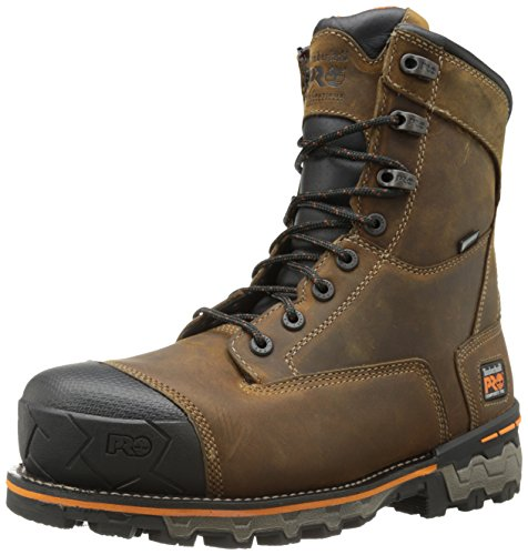 Timberland PRO Men's 8 Inch Boondock Composite Toe Waterproof Industrial Work Boot,Brown Oiled Distressed Leather,9 M US