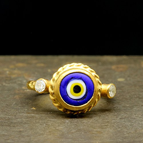 (Blue Evil Eye Ceramic Ring 925 Sterling Silver 24K Yellow Gold Vermeil Handcrafted Hammered Roman Art Handmade Traditional Designer Turkish Ring)