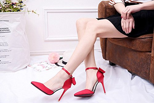 Sorliva Sandals Buckle Pumps-Shoes Stilettos Heels with Bows Pointed Wedding Party Dress Court Shoes Red PUz9O