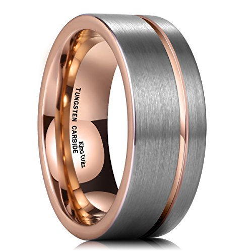 (King Will 9mm Rose Gold Plated Tungsten Carbide Wedding Ring Polished Edge Grooved Center)