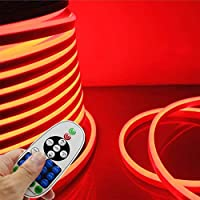 IEKOV LED NEON Light, Trade; AC 110-120V Flexible LED Neon Strip Lights, 120 LEDs/M, Dimmable, Waterproof 2835 SMD LED Rope Light + Remote Controller for Party Decoration (32.8ft/10m, Red)