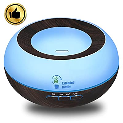 EXTENDED FAMILY Aroma Wood Grain Ultrasonic Cool Mist Humidifier with 7 LED Color lights,300ml Essential Oil Diffuser,4 Timer Settings