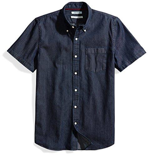 Goodthreads Men's Standard-Fit Short-Sleeve Denim Shirt, Dark Blue, Large