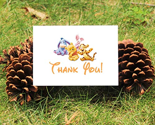 Set of 10 Winnie the Pooh Thank You Cards With Envelopes For Baby Shower, Birthday, etc. - 3 DESIGNS TO CHOOSE FROM!!! -