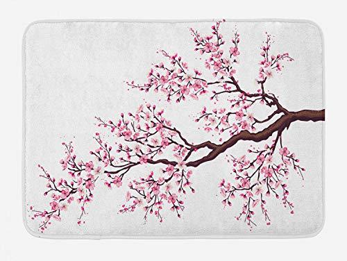 Ambesonne Japanese Bath Mat, Branch of a Flourishing Sakura Tree Flowers Cherry Blossoms Spring Theme Art, Plush Bathroom Decor Mat with Non Slip Backing, 29.5 W X 17.5 L Inches, Pink Dark Brown