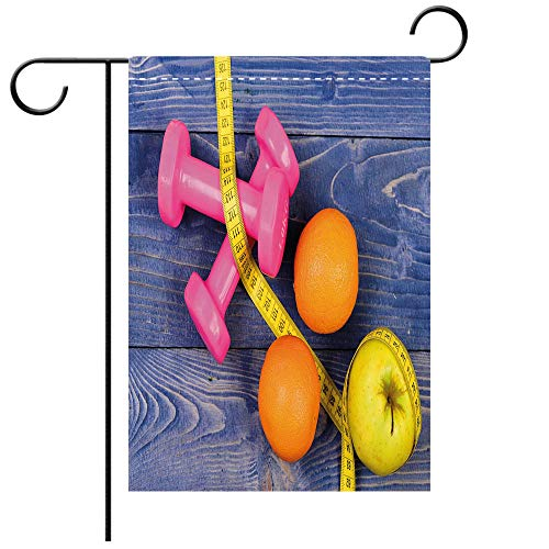 Double Sided Premium Garden Flag Fitness Womens Dumbbells Apples Oranges Measuring Tape Eat Clean Live Active Theme Objects Decorative Decorative Deck, patio, Porch, Balcony Backyard, Garden or Lawn