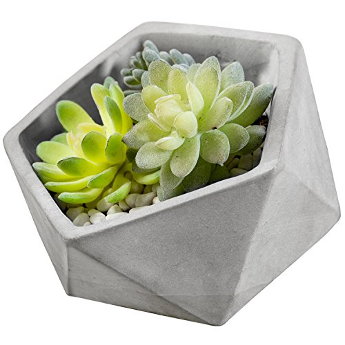 MyGift Miniature 6-Inch Triangle-Faceted Tilted Clay Succulent Planter Pot, Gray