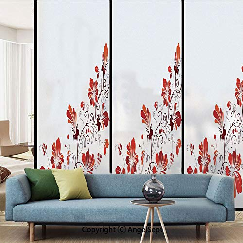 AngelSept No Glue Static Cling Glass Sticker,Chinese Purity Symbol Blooms with Curved Lace Branch and Leaves,W15.7xL63in,for Home Office,Red ()