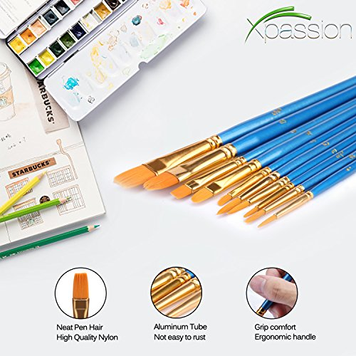 Paint Brush Set Acrylic Xpassion 10pcs Professional Paint Brushes Artist for Watercolor Oil Acrylic Painting by Xpassion (Image #2)